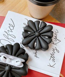 3D Black Flower Premium AirPods Pro Case Shock Proof Cover