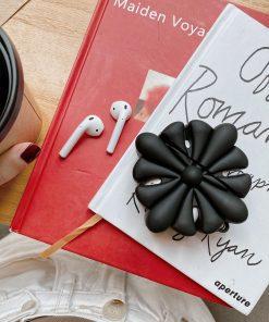 3D Black Flower Premium AirPods Case Shock Proof Cover