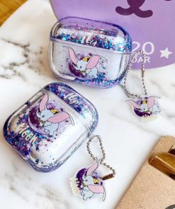 Dumbo Clear Liquid Glitter Silicone AirPods Pro Case Shock Proof Cover