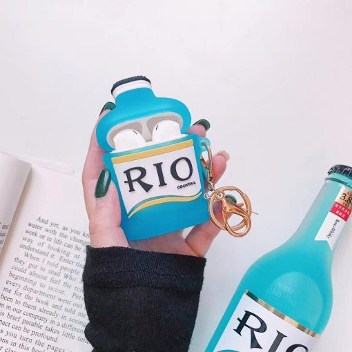 Pink RIO Cocktail Bottle Premium AirPods Case Shock Proof Cover