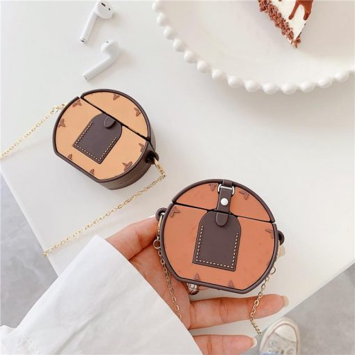 Luxury Brown Round Bag Premium AirPods Case Shock Proof Cover