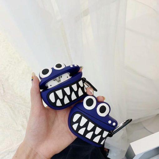 Blue Cartoon Crocodile Premium AirPods Case Shock Proof Cover