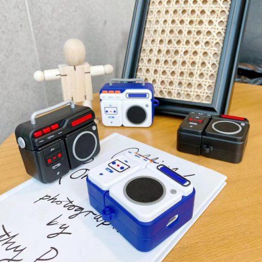 Retro Boom Box Cassette Player Premium AirPods Case Shock Proof Cover