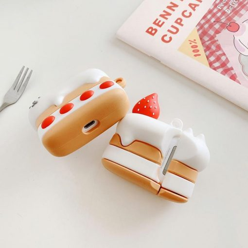 Cute Strawberry Shortcake Cat Premium AirPods Pro Case Shock Proof Cover