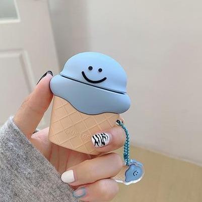 Cute Smiling Ice Cream Cone Premium AirPods Case Shock Proof Cover