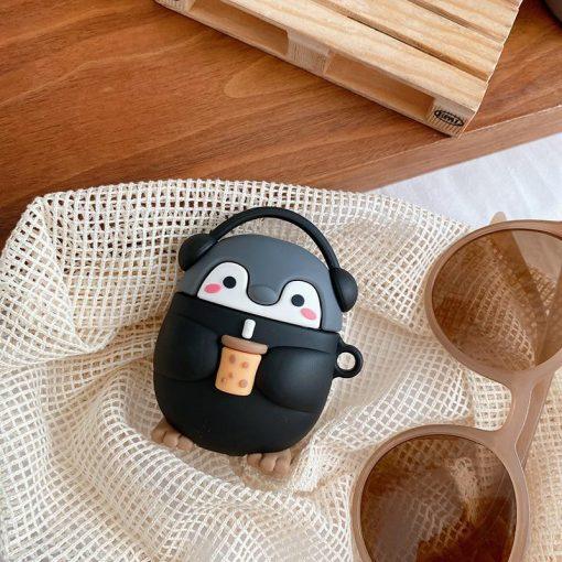 Cute Milk Tea Music Penguin Premium AirPods Case Shock Proof Cover