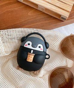 Cute Milk Tea Music Penguin Premium AirPods Pro Case Shock Proof Cover