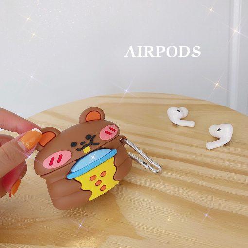 Cute Bear Drinking Bubble Tea Premium AirPods Pro Case Shock Proof Cover