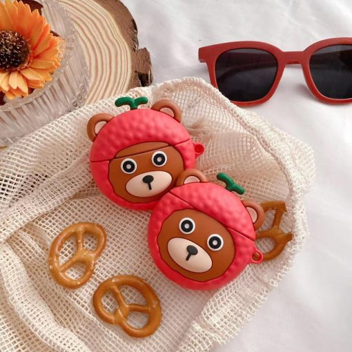 Cute Bear in a Lychee Costume Premium AirPods Case Shock Proof Cover