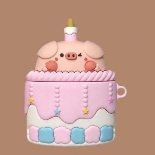 Cute Pig in Cake Premium AirPods Case Shock Proof Cover
