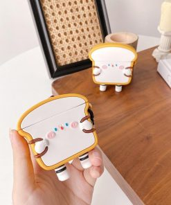 Cute Cartoon Bacon Bread with Backpack Premium AirPods Case Shock Proof Cover