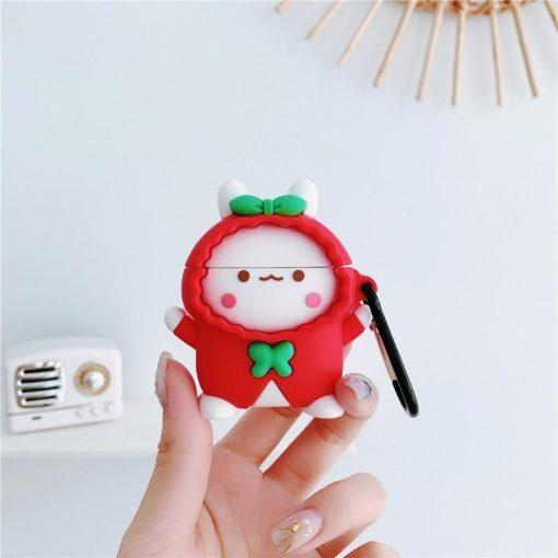 Cute Rabbit in a Red Raincoat Premium AirPods Case Shock Proof Cover