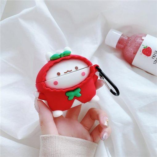 Cute Rabbit in a Red Raincoat Premium AirPods Pro Case Shock Proof Cover