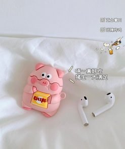 Cute Pig with a Bag of Chips Premium AirPods Case Shock Proof Cover