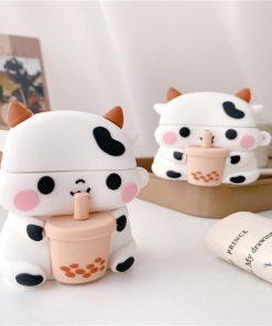 Cute Bubble Tea Cow Premium AirPods Pro Case Shock Proof Cover