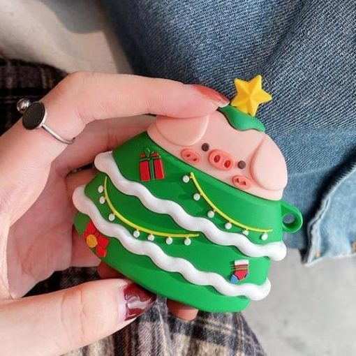 Cute Christmas Tree Pig Premium AirPods Pro Case Shock Proof Cover