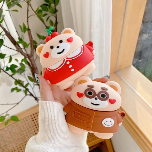Cute Teddy Bear 'Hearts and Cherries' Premium AirPods Case Shock Proof Cover
