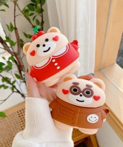 Cute Teddy Bear 'Hearts and Cherries' Premium AirPods Pro Case Shock Proof Cover