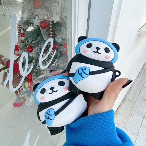 Cute Panda with Fish Bag Premium AirPods Pro Case Shock Proof Cover