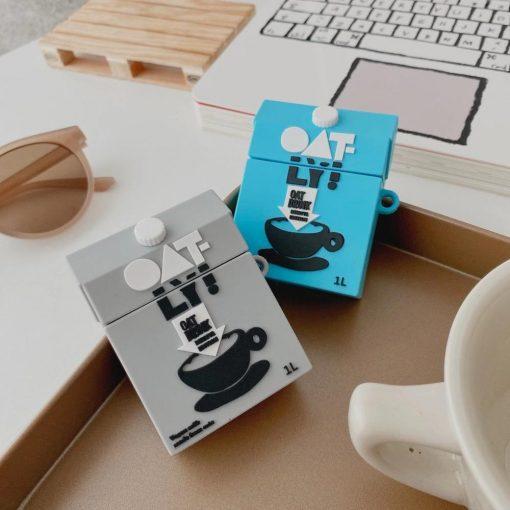 Oatmeal Milk Carton Premium AirPods Case Shock Proof Cover