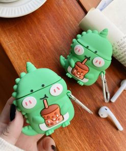 Cute Dinosaur Sipping Bubble Tea Premium AirPods Case Shock Proof Cover