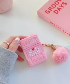 Cute Pink Retro Mobile Phone Premium AirPods Case Shock Proof Cover